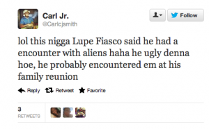Screen shot 2012 10 16 at 6.08.09 PM 300x186 25 Hilarious Tweets About Lupe Fiascos Alien Encounter