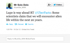 Screen shot 2012 10 16 at 6.09.41 PM 300x186 25 Hilarious Tweets About Lupe Fiascos Alien Encounter