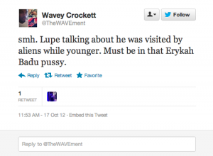 Screen shot 2012 10 17 at 12.03.46 PM 300x220 25 Hilarious Tweets About Lupe Fiascos Alien Encounter