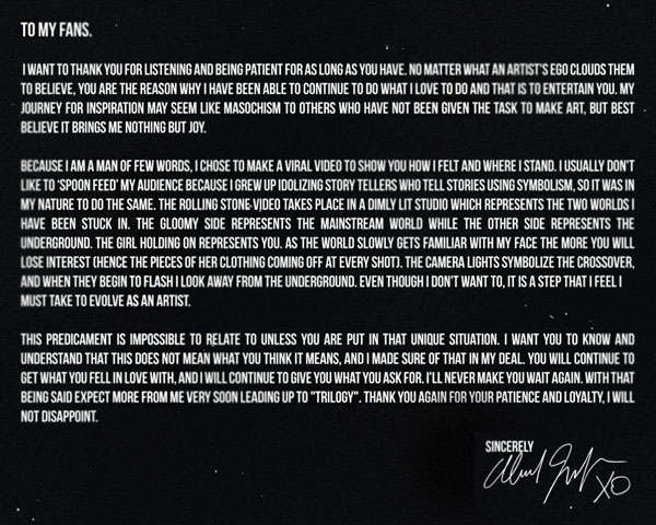 tomyfansxo iroxv The Weeknds Open Letter To Fans