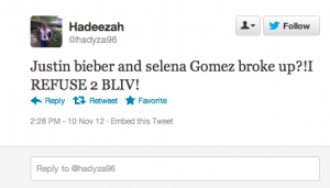 Screen Shot 2012 11 10 at 2.33.12 PM 300x171 Justin Bieber and Selena Gomez Break Up: The Most Hilarious Tweets