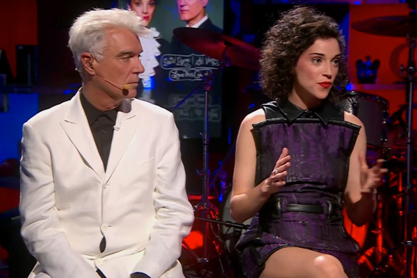 david byrne annie clark Video: St. Vincent and David Byrne Stop By The Colbert Report