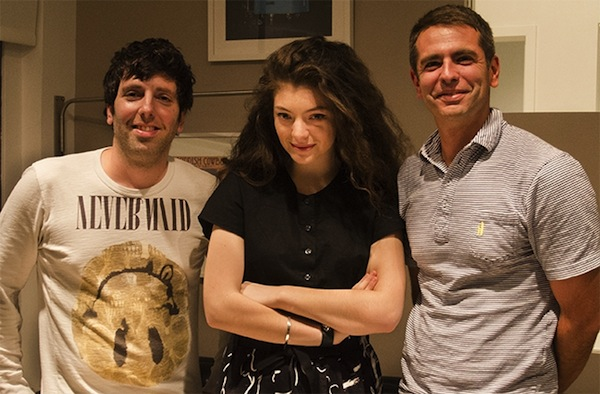 Lorde with Songs president and head of A&R Ron Perry and Songs founder/CEO Matt Pincus (Image via Billboard)