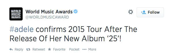adldeld23 Adele Announces New Album Called 25 and 2015 Tour